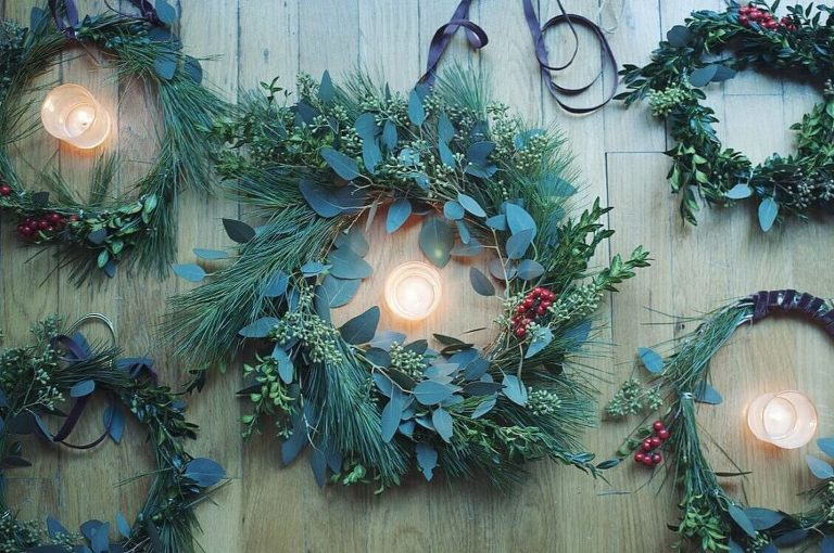 Winter Solstice wreaths made at home