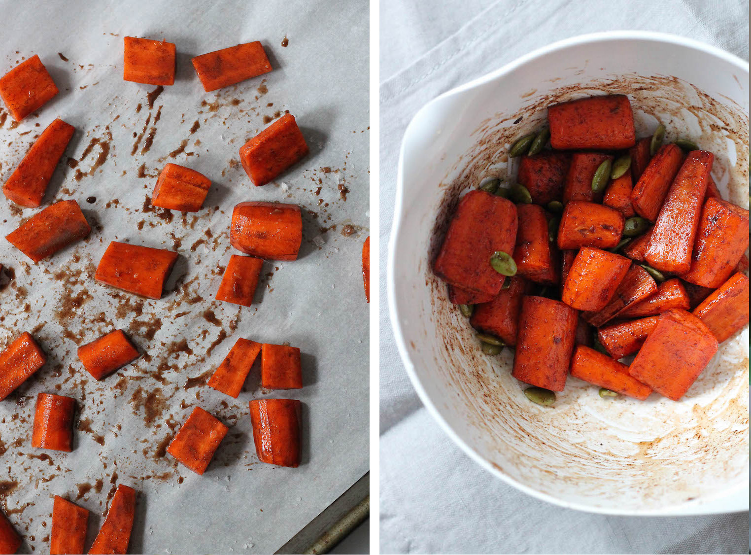 Roasted Maple Carrots w/ Pepitas