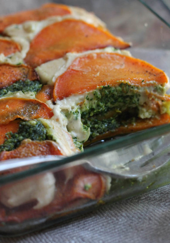 gluten free butternut squash lasagna made with kale pesto and cashew cheese
