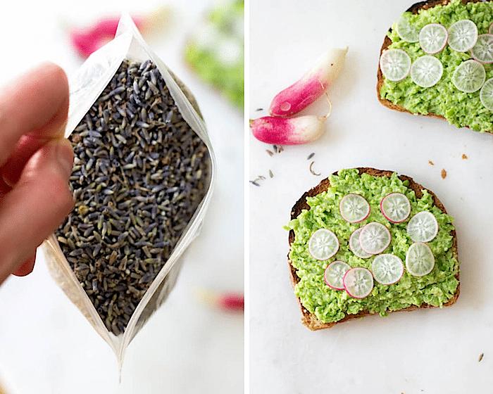 Spring Pea Toasts w/ Radish & Lavender