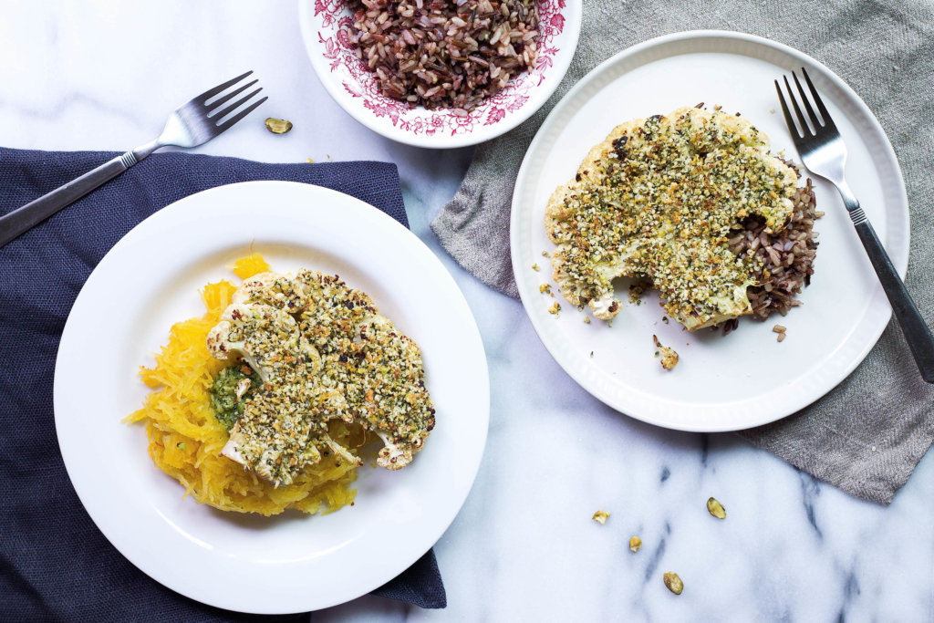 Hemp & Pistachio Crusted Cauliflower Steaks (vegan, gluten-free, grain-free)