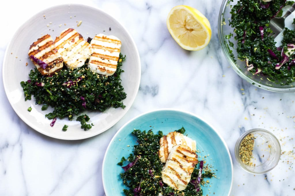 Simple Grilled Haloumi Kale Salad