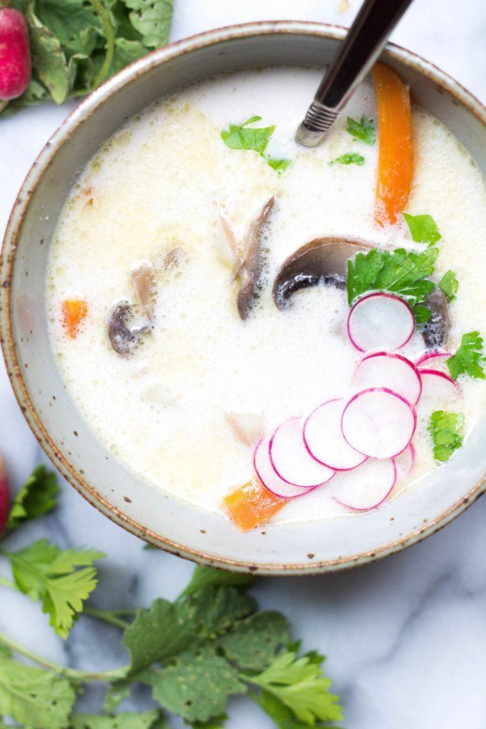 summer coconut vegetable soup recipe