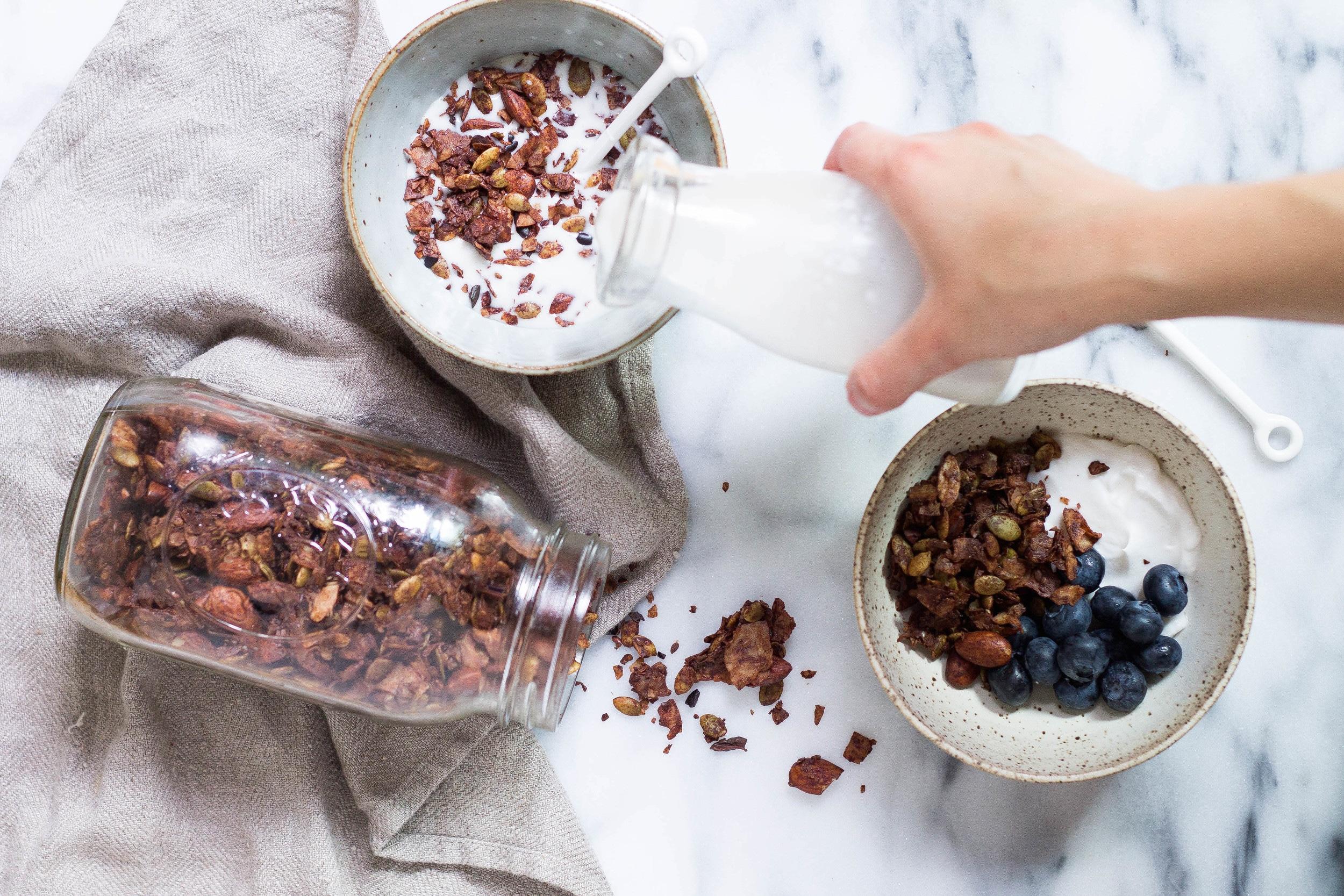 Grain-free Cocoa Granola (No added sugar, Gluten-free, Paleo, Low-carb)