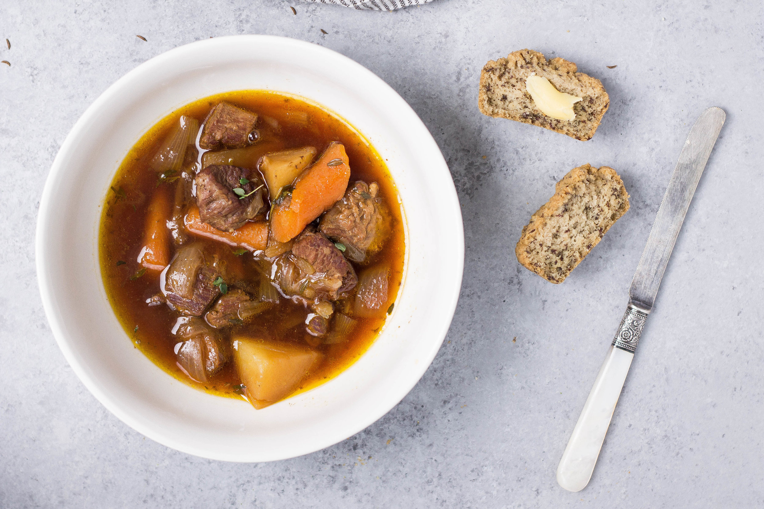 Irish Lamb Stew & Savory Paleo Soda Bread Biscuits (paleo, Instant Pot Recipe)