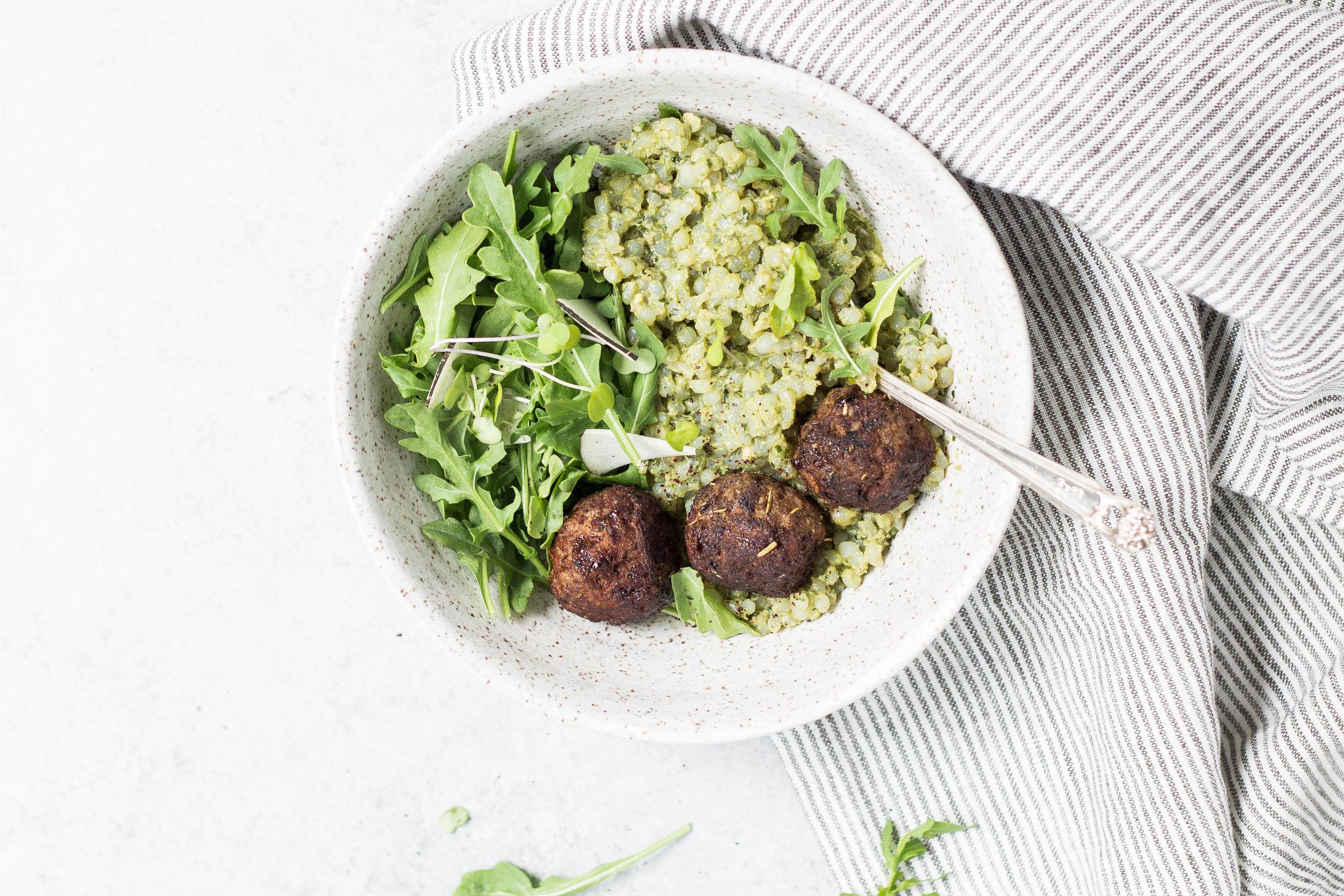 Easy Meatballs & Grain-free Pesto Risotto (AIP, Paleo, Low FODMAP friendly)