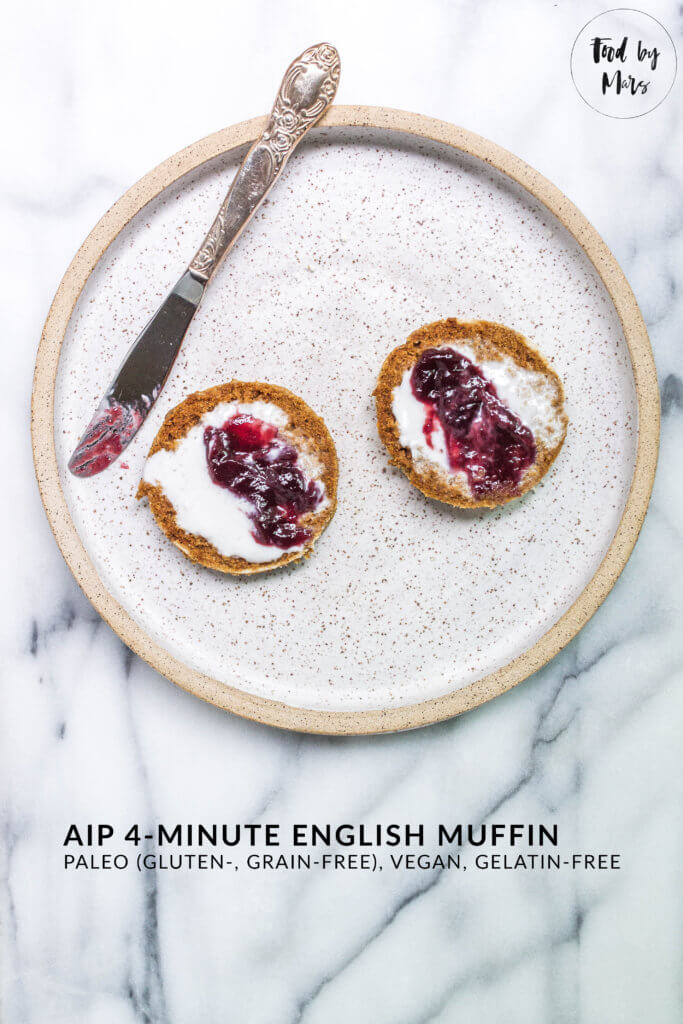AIP 4-minute English Muffin (egg-free, dairy-free, gluten-free, grain-free, gelatin-free) via Food by Mars