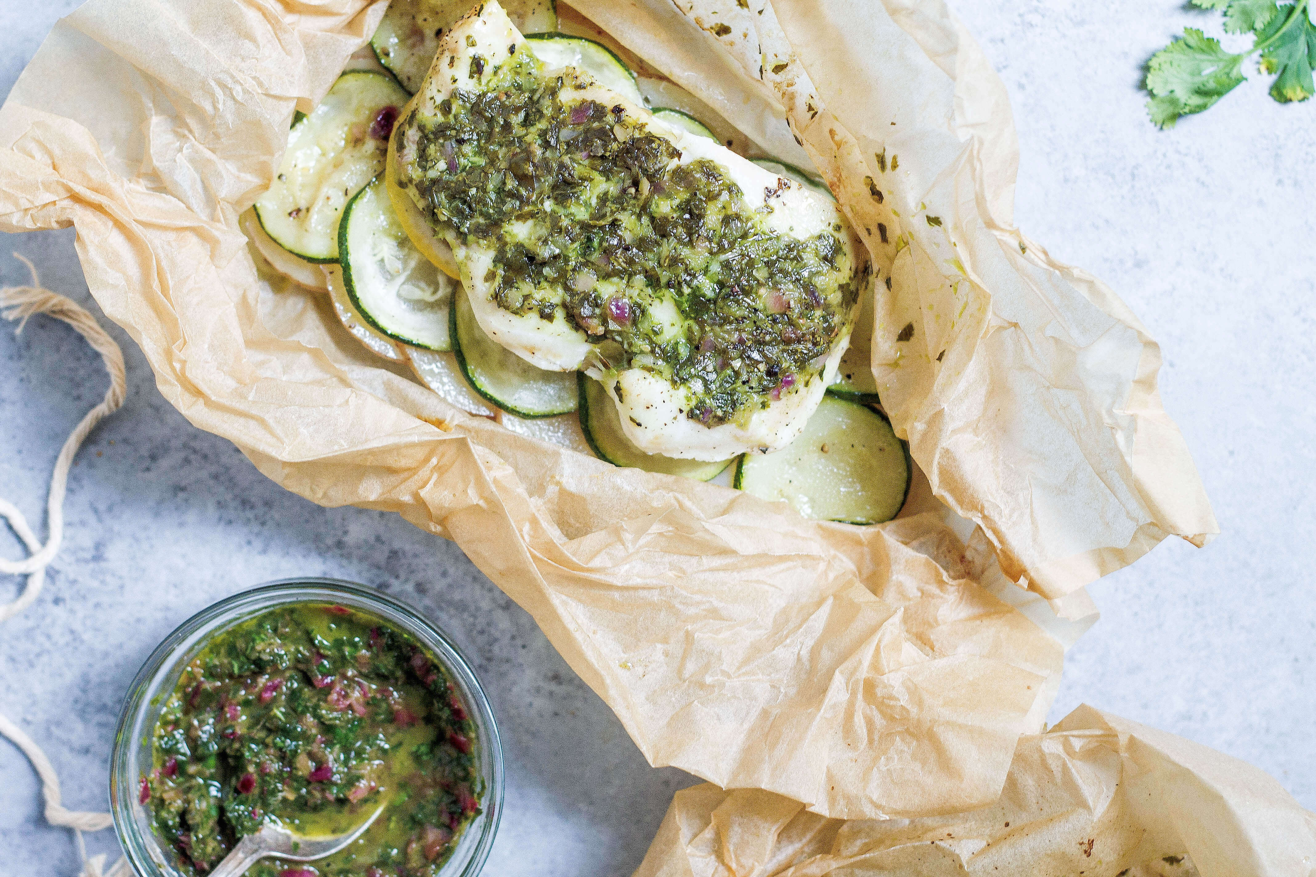 Halibut en Papillote with Salsa Verde (Paleo-friendly)