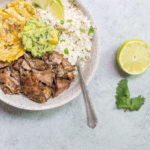 Paleo Carnitas Bowl (Crispy Pulled Pork with Cauliflower Rice, Guac and Tostones) via Food by Mars