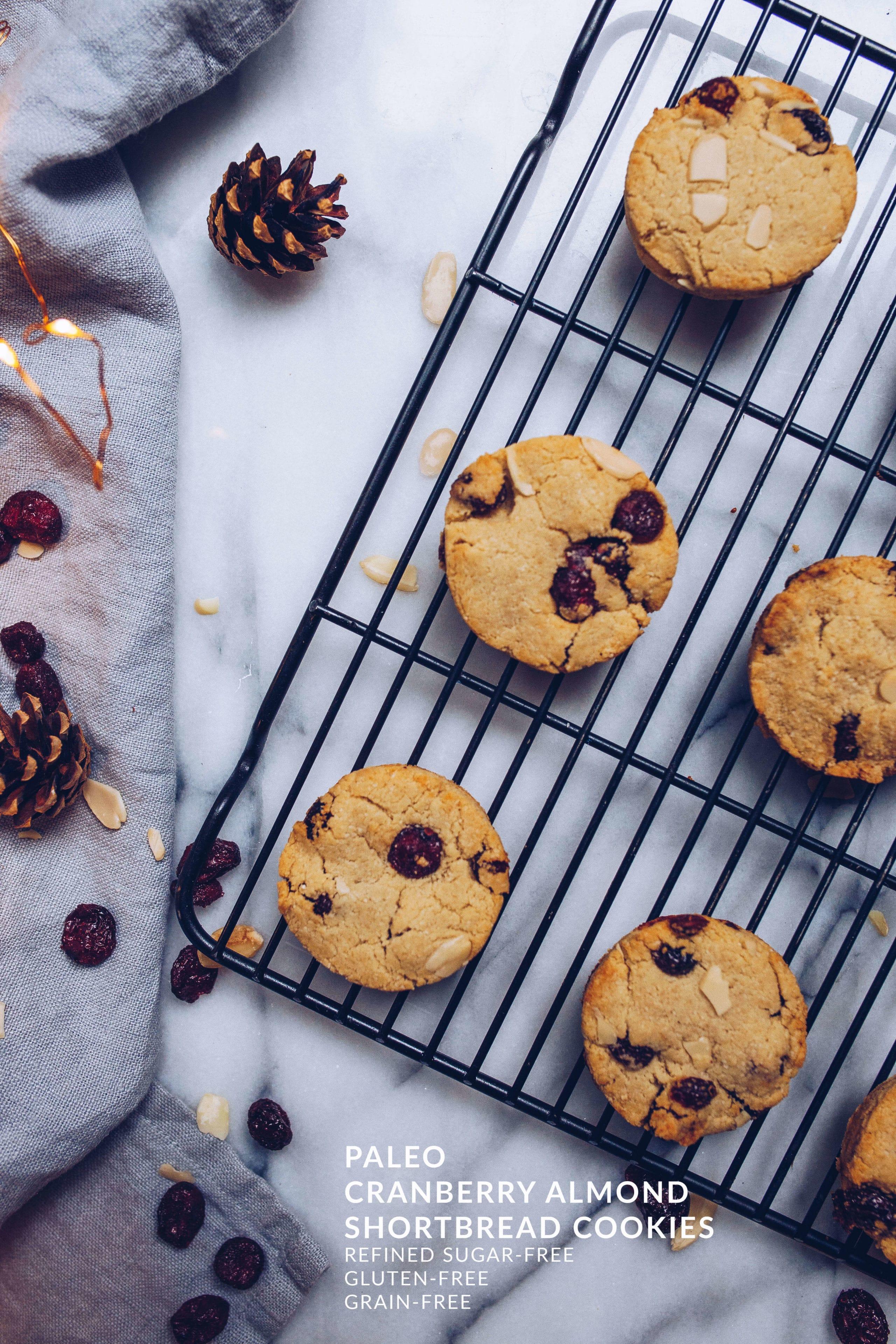 Paleo Cranberry Almond Shortbread Cookies via Food by Mars (gluten-free, grain-free, refined sugar-free)