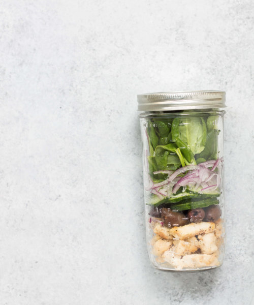 AIP Greek Salad Jar for Packed Lunch via FOOD BY MARS