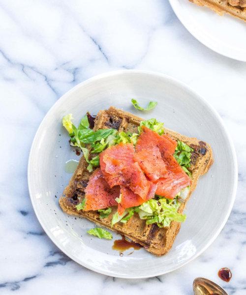 Smoked Salmon Salad over AIP Waffles via Food by Mars