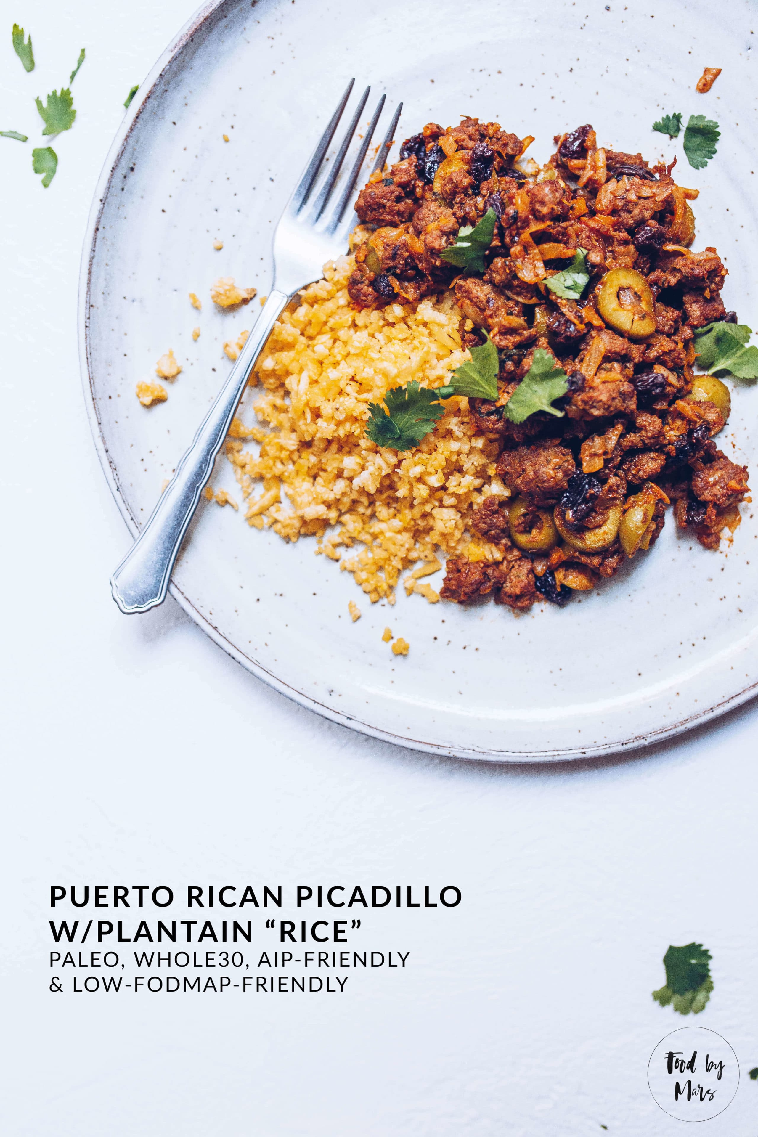 Puerto Rican Picadillo with Plantain Rice (Paleo, AIP-friendly, Whole30, Low FODMAP-friendly) via Food by Mars