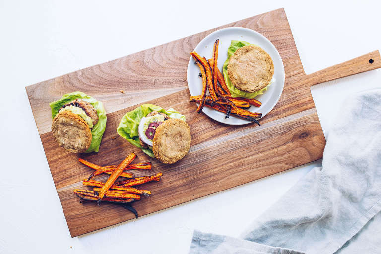 AIP Greek Sliders with Avocado Tzatziki and Carrot Fries (paleo, AIP, Whole30-friendly) via Food by Mars
