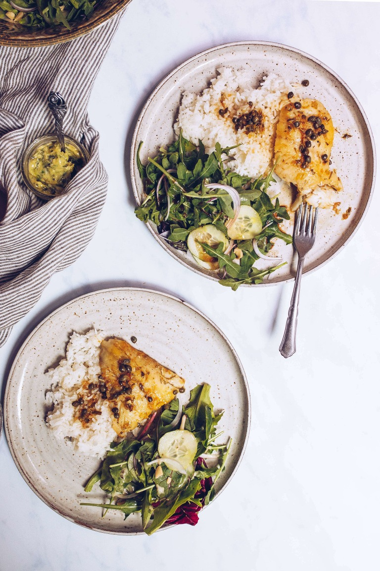 Pan-seared cod with lemon-caper sauce via Food by Mars (Paleo, Whole30)
