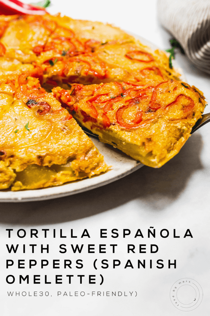 Tortilla Española with Sweet Red Peppers (Spanish Omelette) (Whole30, Paleo-friendly) via foodbymars