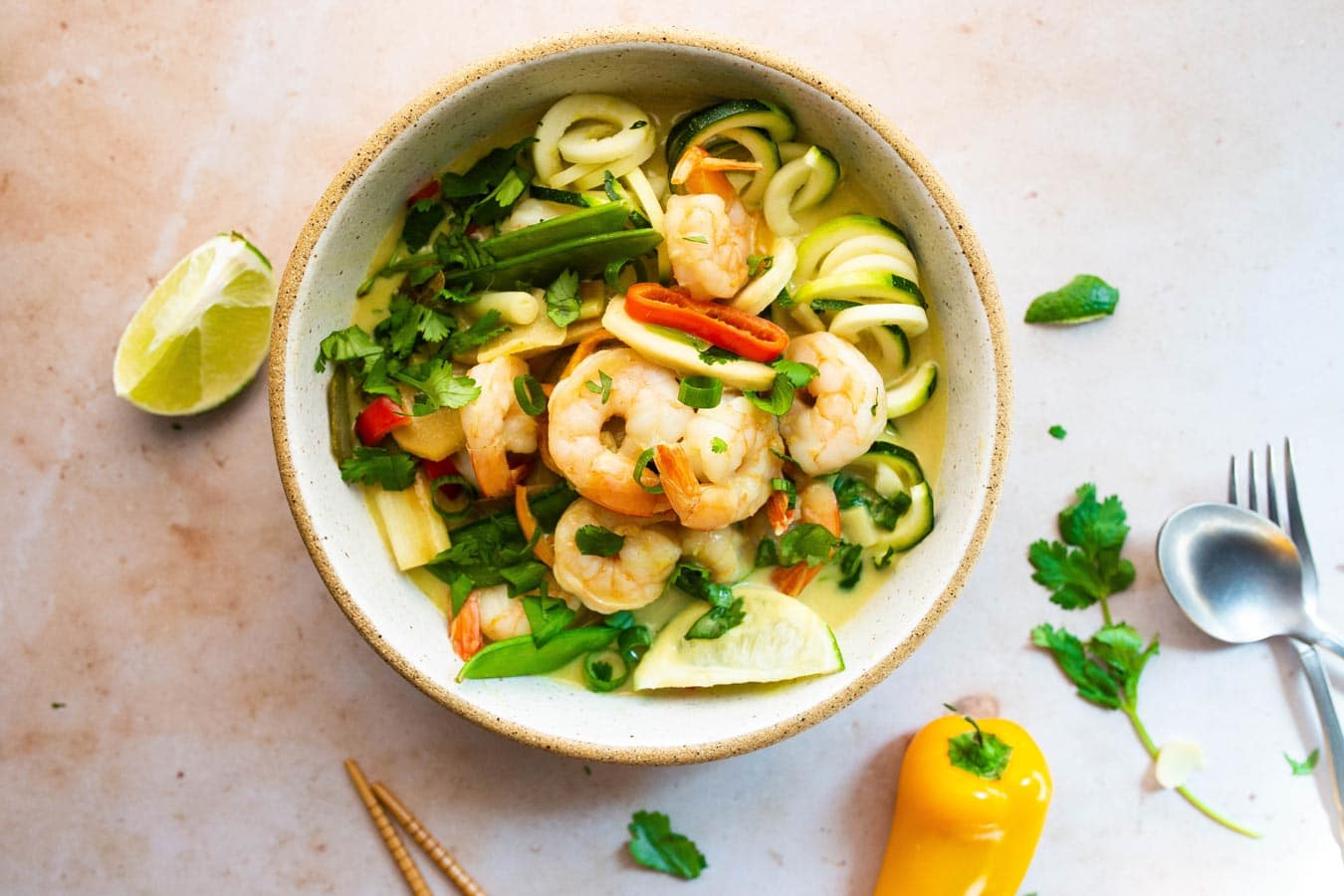 Green Coconut Curry Soup with Shrimp