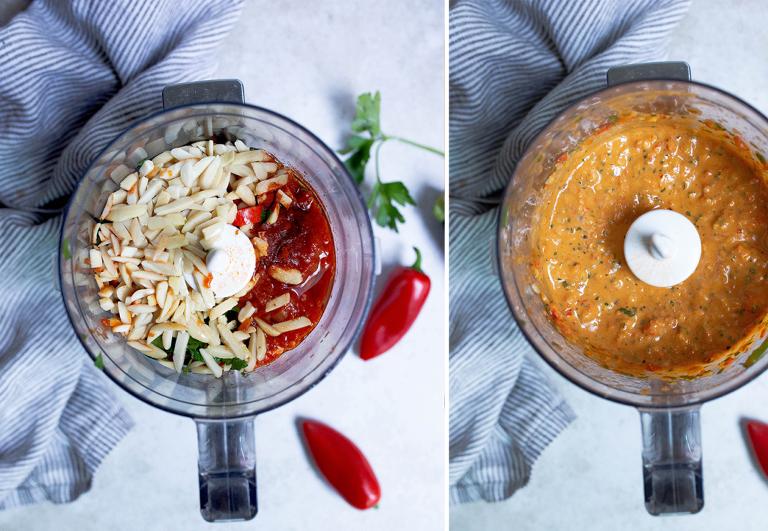 zucchini ziti with romesco (paleo, whole30) via food by mars