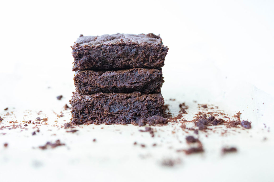 3 gluten-free brownies stacked
