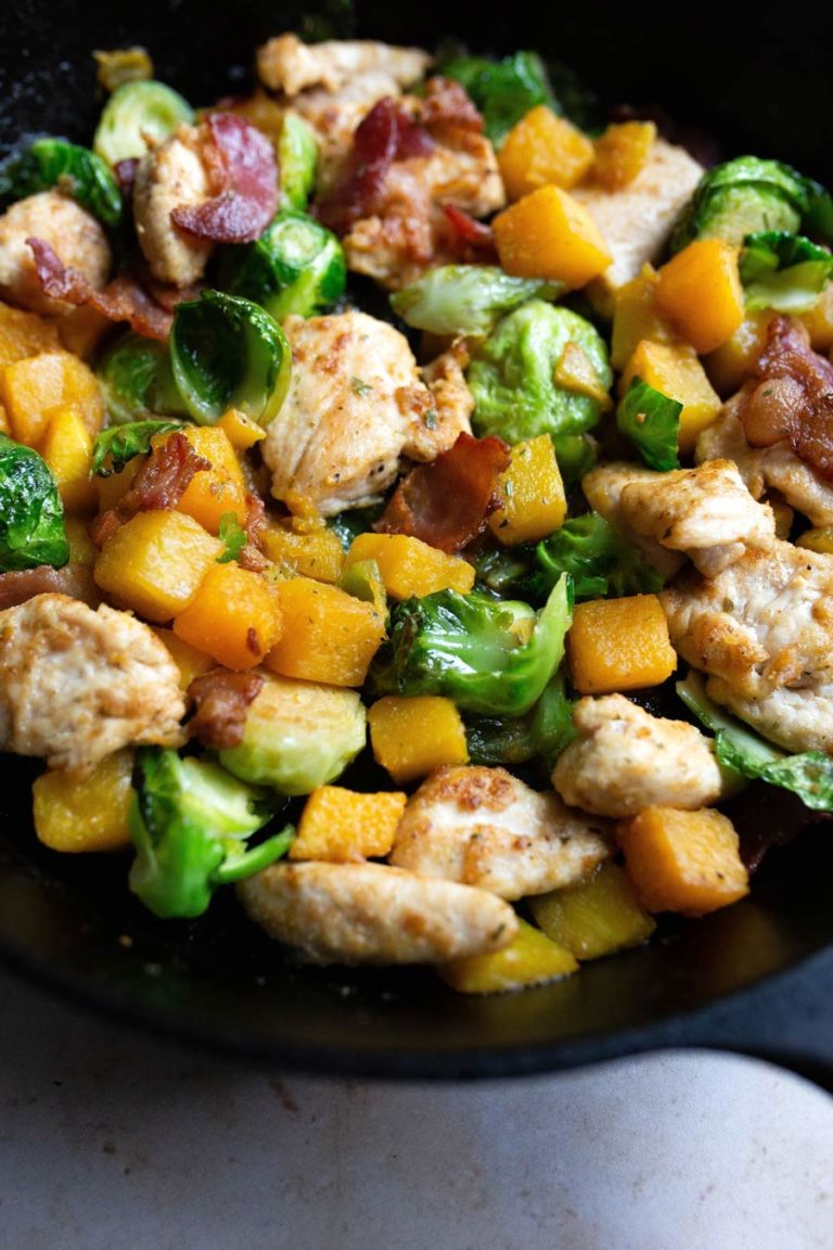One Pan Chicken and Veggies with Bacon Recipe via Food by Mars (Whole30, Paleo)