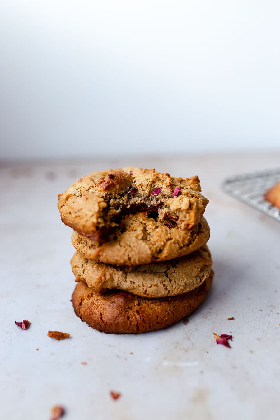 a stack of honey tahini tigernut flour cookies as a part of this gluten-free flours roundup