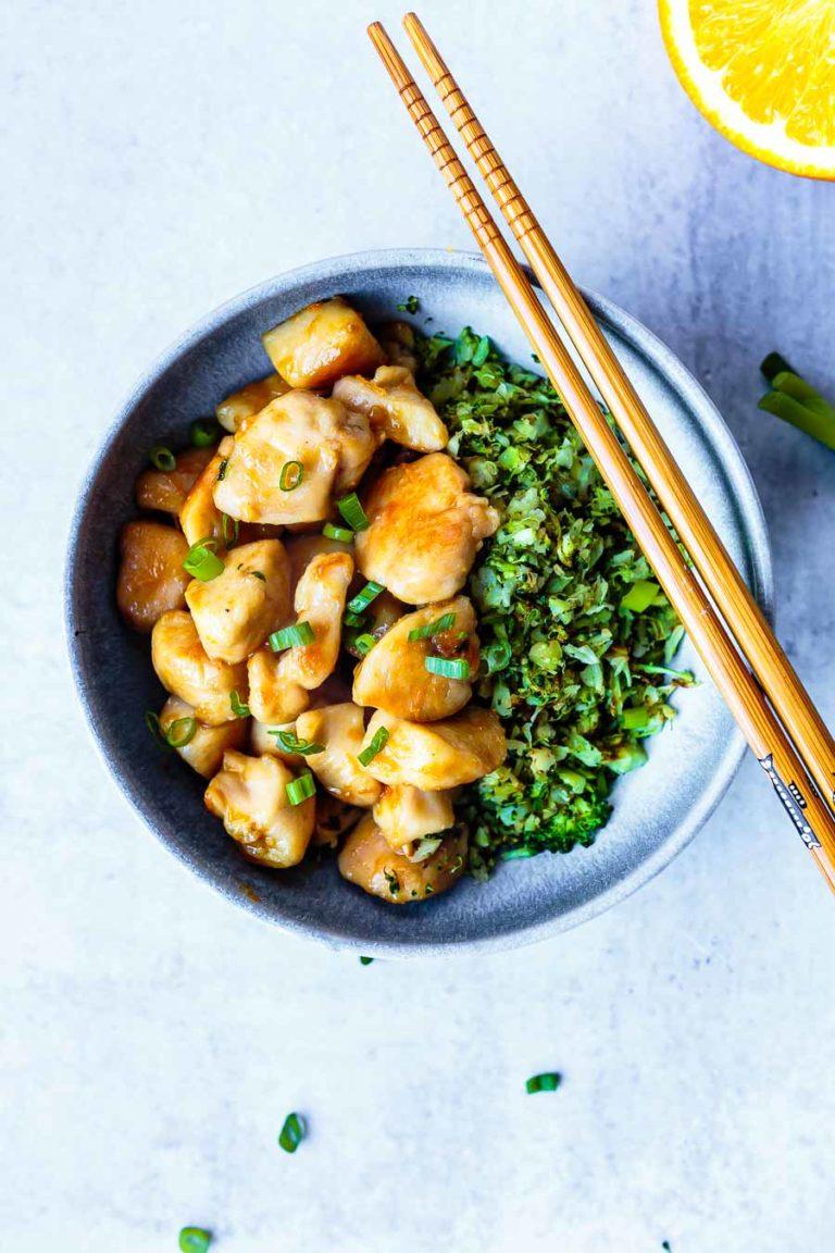 paleo, gluten-free orange chicken with broccoli rice