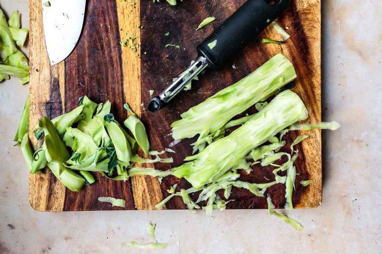 peeling broccoli stalk