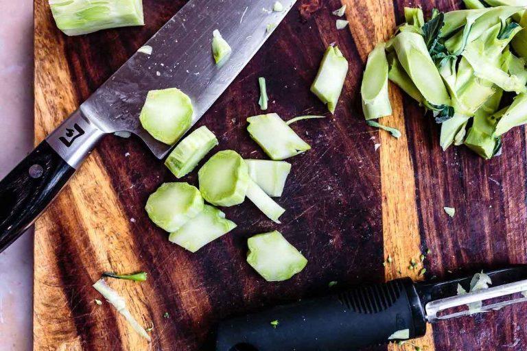 slicing broccoli stalk