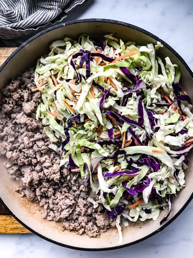 ground pork and coleslaw for egg roll skillet