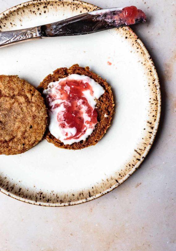 AIP English Muffin with coconut yogurt and strawberry jam